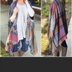Soft Plaid Poncho Cardigan with Armholes/Pockets